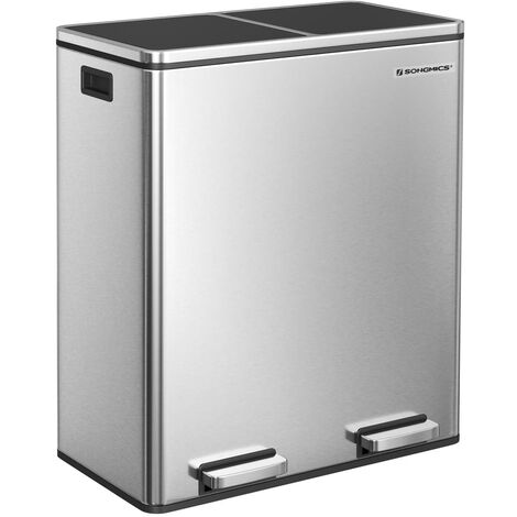 Dual Rubbish Bin, 2 x 30L Trash Can, Metal Step Bin, with Dual Compartments, Plastic Inner Buckets and Hinged Lids, Handles, Soft Closure, Airtight, Black/Silver