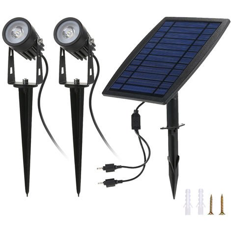 Dual Solar Powered Spotlights Water Resistant Outdoor Landscape Lawn Lamp