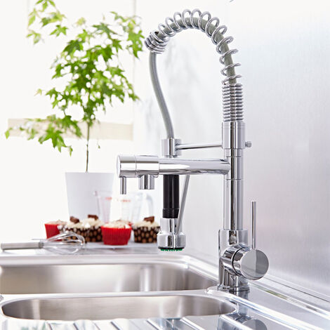 Dual Spout Kitchen Mixer Tap Mono Pull Out Spray Single Lever Basin Sink