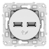 Dual USB wall socket Odace Schneider Electric