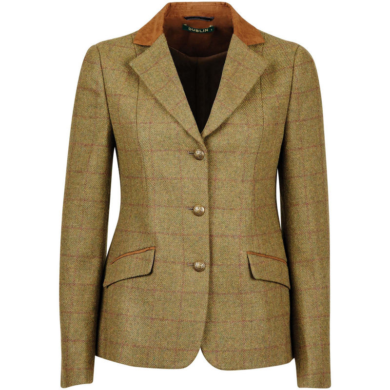 Image of Dublin Childrens/Kids Albany Tweed Suede Collar Tailored Jacket (26in) (Brown)