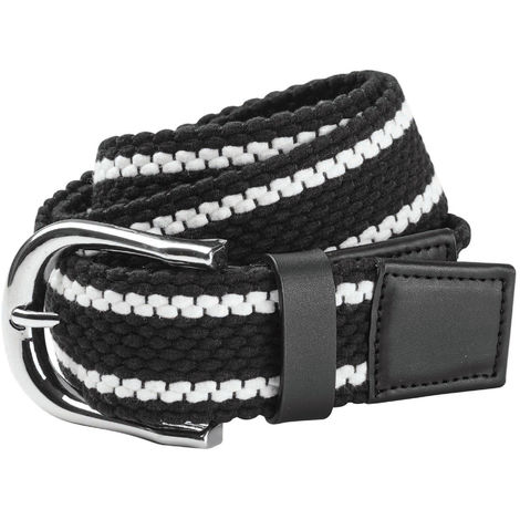 Dublin Unisex Adults Stripe Webbing Belt (One Size) (Black/White)