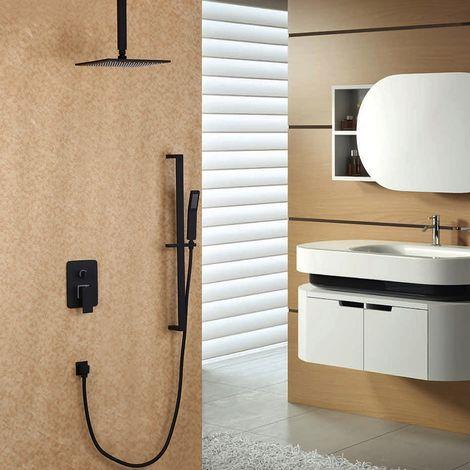 Ducha de arriba y sistema de ducha deslizante en negro 300 mm