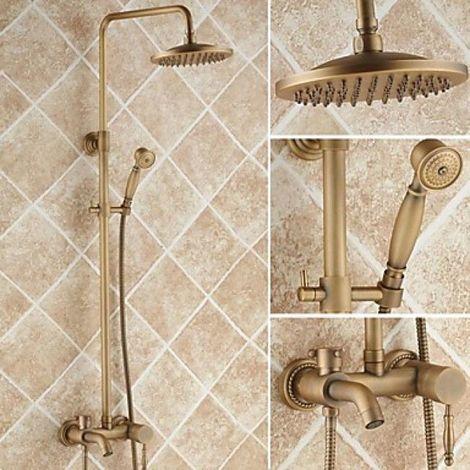 """Ducha de estilo antiguo y grifo para bañera con ducha de mano de 8 """"y cabezal de ducha"""