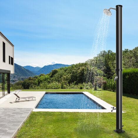 Ducha de jardín con energía solar, con grifo, 20L negro