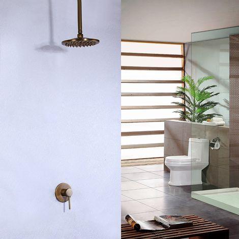 Ducha de lluvia de techo antiguo con sistema de ducha de pared y palanca de bronce simple
