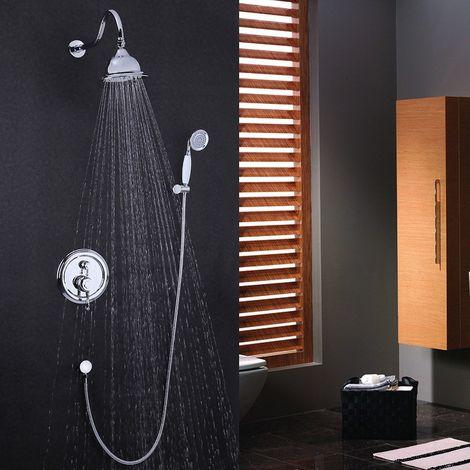 Ducha de lluvia y ducha de mano de porcelana de estilo vintage en latón macizo con acabado de cobre