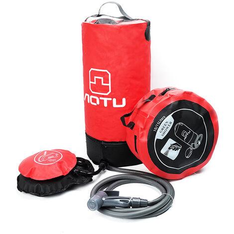 Ducha de presion de PVC de 11L con bomba de pie Ducha inflable ligera para exteriores Bolsa de agua de ducha a presion para exteriores Playa Camping Senderismo Bano, Rojo