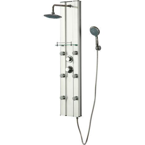 Columna de hidromasaje de ducha/bañera modelo Menorca (PVC), color plata.