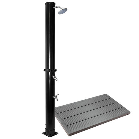 Ducha solar negra con cabezal de ducha efecto lluvia 35L con elemento de suelo ducha exterior