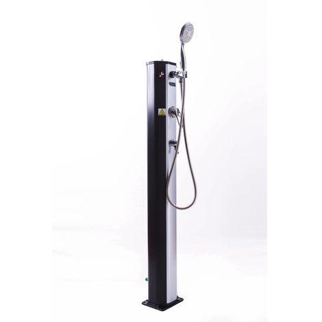 Ducha solar para piscina PVC Fresh 8 - 20L + mezclador y nebulizador - Negro y plateado