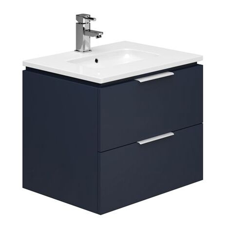 Duchy Dakota Wall Hung Vanity Unit with Basin 600mm Wide - Marine Blue