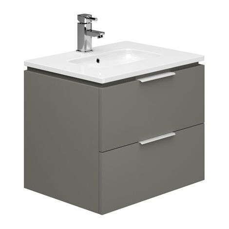 Duchy Dakota Wall Hung Vanity Unit with Basin 600mm Wide - Onyx Grey