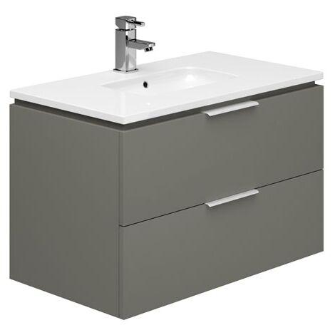 Duchy Dakota Wall Hung Vanity Unit with Basin 800mm Wide - Onyx Grey