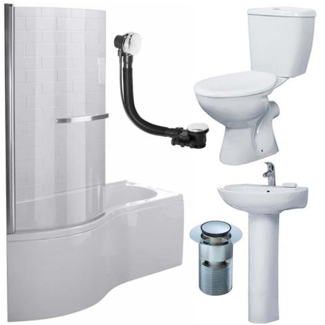 Duchy Hampstead Complete Bathroom Suite 1500mm x 900mm P-Shaped Shower Bath LH