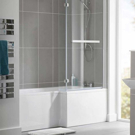 Duchy Kensington L-Shaped Shower Bath with Front Panel and Screen 1600mm x 700mm/850mm RH