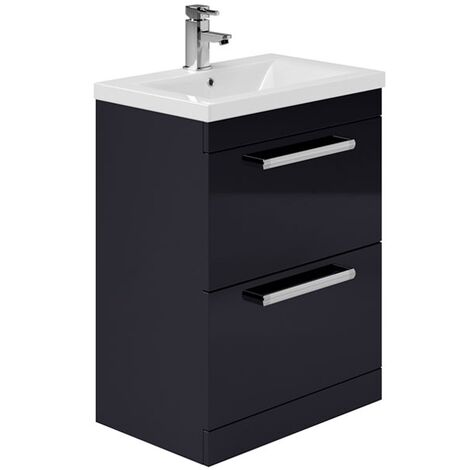 Duchy Nevada 2-Drawer Floor Standing Vanity Unit with Basin 600mm Wide Indigo Gloss 1 Tap Hole