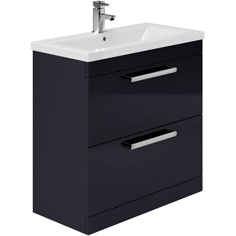Duchy Nevada 2-Drawer Floor Standing Vanity Unit with Basin 800mm Wide Indigo Gloss 1 Tap Hole
