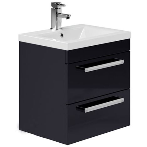 Duchy Nevada 2-Drawer Wall Hung Vanity Unit with Basin 500mm Wide Indigo Gloss 1 Tap Hole
