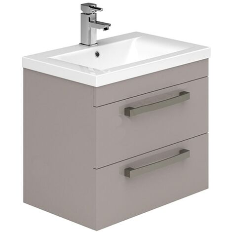 Duchy Nevada 2-Drawer Wall Hung Vanity Unit with Basin 600mm Wide Cashmere 1 Tap Hole