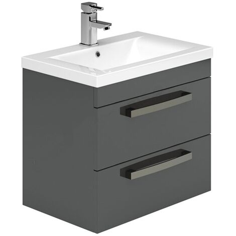 Duchy Nevada 2-Drawer Wall Hung Vanity Unit with Basin 600mm Wide Grey 1 Tap Hole