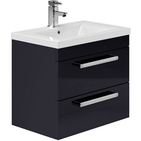 Duchy Nevada 2-Drawer Wall Hung Vanity Unit with Basin 600mm Wide Indigo Gloss 1 Tap Hole