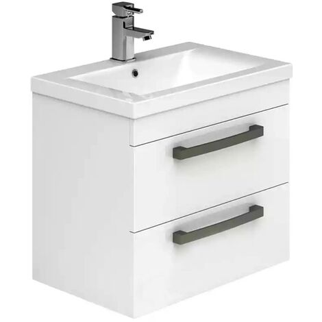 Duchy Nevada 2-Drawer Wall Hung Vanity Unit with Basin 600mm Wide White 1 Tap Hole