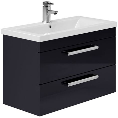 Duchy Nevada 2-Drawer Wall Hung Vanity Unit with Basin 800mm Wide Indigo Gloss 1 Tap Hole