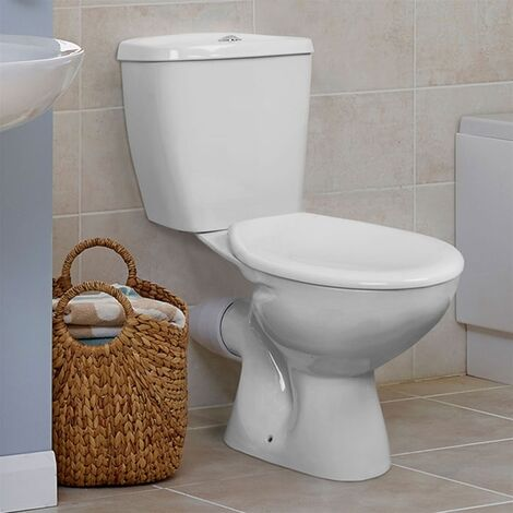 Duchy Ocean Close Coupled Toilet with Push Button Cistern - Standard Seat