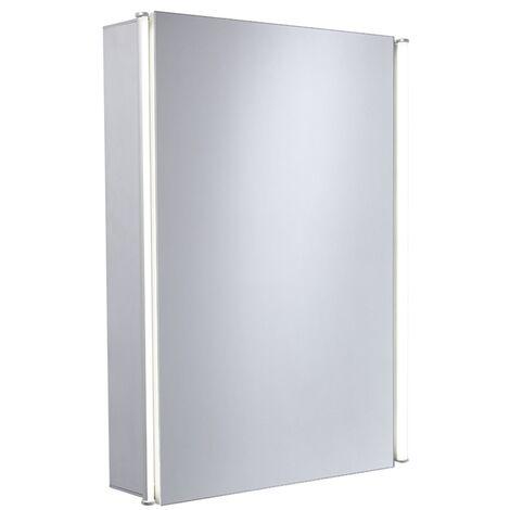 Duchy Sleek 1-Door LED Illuminated Mirrored Bathroom Cabinet 650mm H x 487mm W - Glass