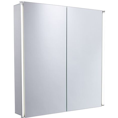 Duchy Sleek 2-Door LED Illuminated Mirrored Bathroom Cabinet 650mm H x 650mm W - Glass