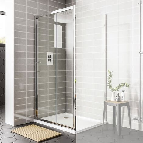 Duchy Spring Sliding Shower Door 1000mm Wide - 6mm Clear Glass