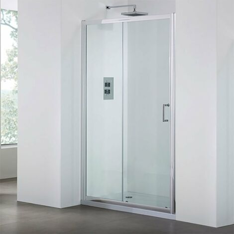 Duchy Spring Sliding Shower Door 1100mm Wide - 6mm Clear Glass