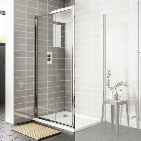 Duchy Spring Sliding Shower Door 1400mm Wide - 6mm Clear Glass