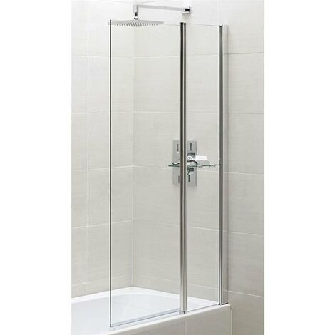 Duchy Spring Square Bath Screen with Fixed Inline Panel 900mm Wide - 6mm Clear Glass