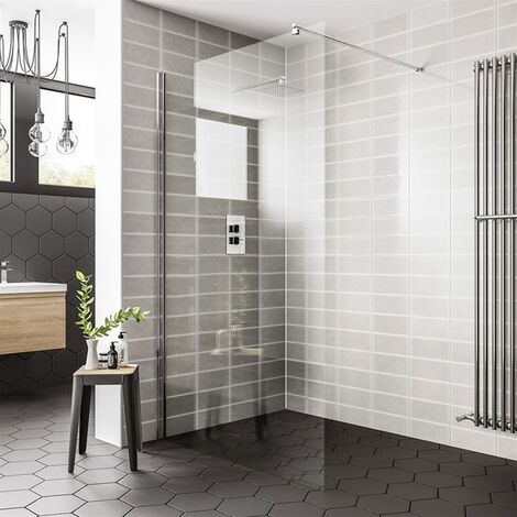 Duchy Spring Wetroom Glass Panel 760mm Wide - 8mm Clear Glass