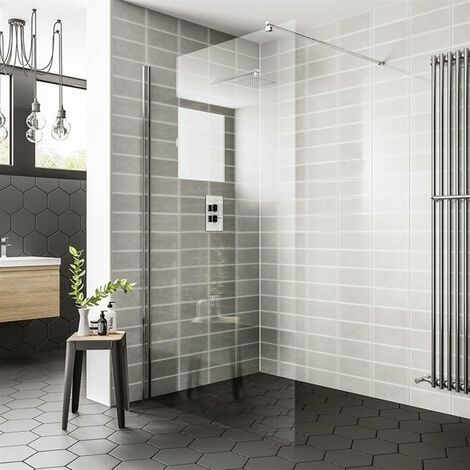 Duchy Spring Wetroom Glass Panel 800mm Wide - 8mm Clear Glass