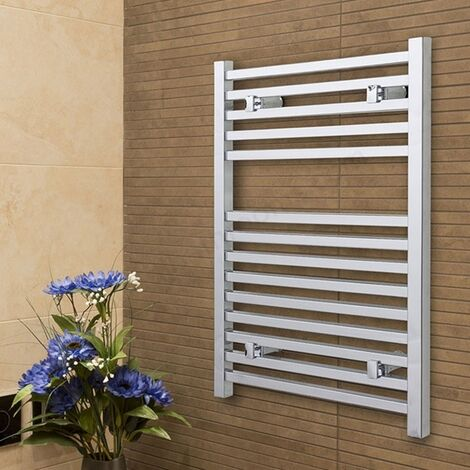 Duchy Todi Square Bar Heated Towel Rail 690mm H x 500mm W Chrome