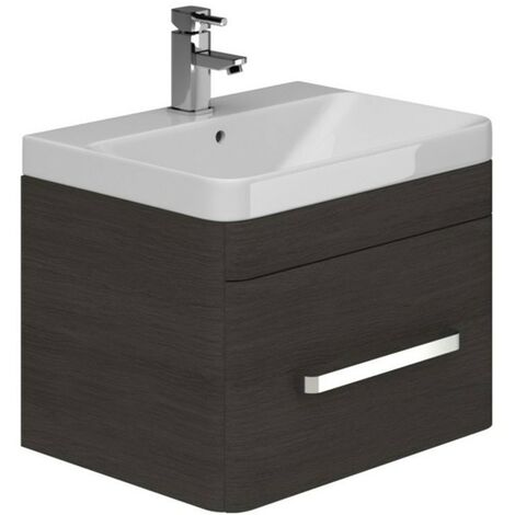 """main image of """"Duchy Vermont 1-Drawer Wall Hung Unit and Basin, 600mm Wide, Dark Grey"""""""