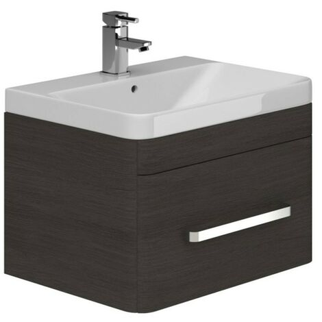 Duchy Vermont 1-Drawer Wall Hung Unit and Basin, 800mm Wide, Dark Grey