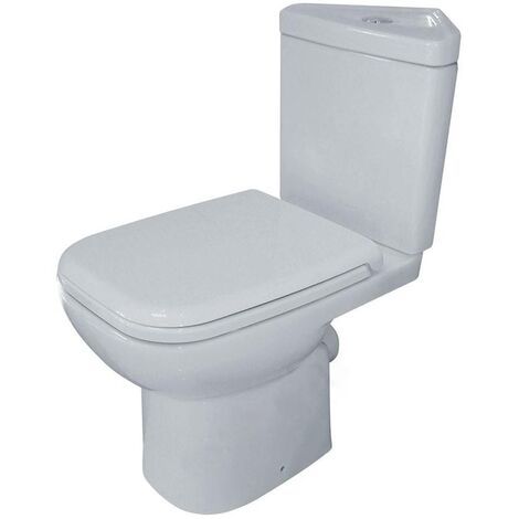 Duchy Violet Corner Close Coupled Toilet with Push Button Cistern - Soft Close Seat