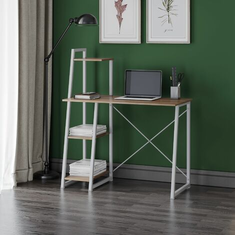 Dudley Small Home Office Desk | Computer Study Table with Three Shelf | Wooden Tabletop