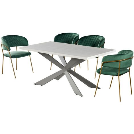 """main image of """"Duke & Atarah Dining Table & Chairs   4 Set Chairs   Modern Dining Table   Velvet Chairs   Retro Chairs   Vintage   LUX Chairs   Metal Legs   Padded Chairs   GREEN & WHITE"""""""