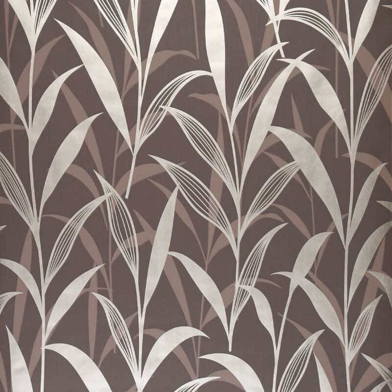 Image of Chocolate And Gold Leaf Design Wallpaper Floral Dark Colours Feature Wall