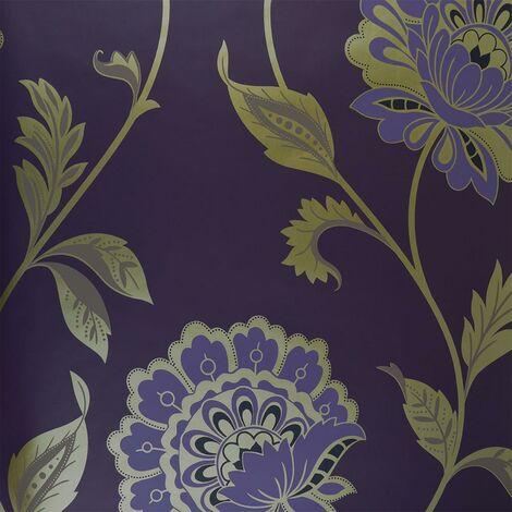 Dulux Feature Floral Plum Mandala Pattern Purple Metallic Gold