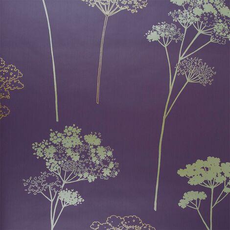 Dulux Feature Floral Plum Metallic Gold Copper Leaf Pattern Wallpaper