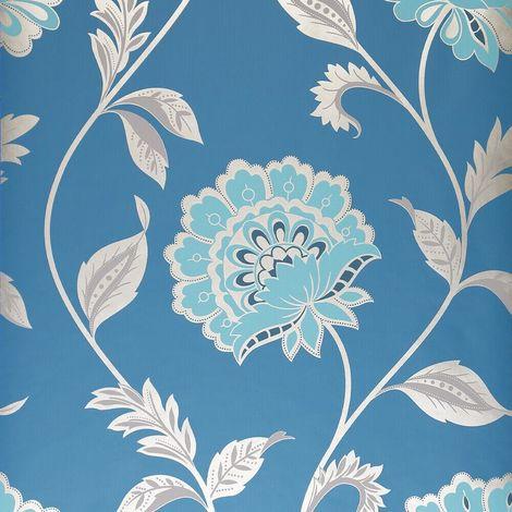 Dulux Kerala Sapphire Wallpaper Blue Teal Silver Metallic Paste The Wall