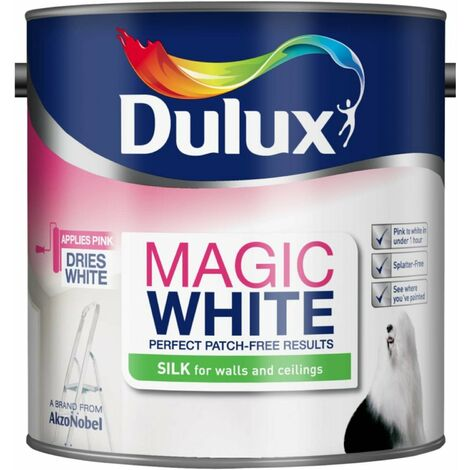 """main image of """"Dulux Magic White Silk Emulsion Paint For Walls And Ceilings - Pure Brilliant White - Silk - 2.5L"""""""
