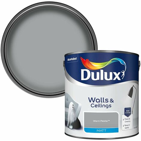 Dulux Matt Emulsion Paint For Walls And Ceilings - Warm Pewter 2.5L