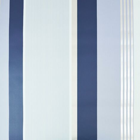 Dulux Oslo China Blue Striped Wallpaper Blue Navy Silver Grey Metallic Textured